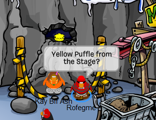Club Penguin Yellow Puffle at the Mine Cave Rockslide!