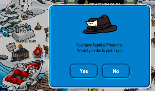 Penguin Play Awards in Club Penguin: Press Hat