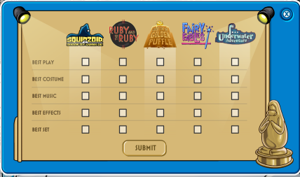 Voting at the Penguin Play awards at Club Penguin