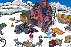 Club Penguin Earth Day Construction at the Mine Shack