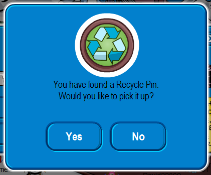 Club Penguin Earth Day Party: Recycle Pin