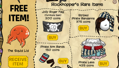 Club Penguin New Rockhopper Item Squid Lid